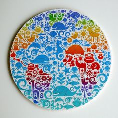 ANIMAL GLOBE. Custom Handcut Wooden Jigsaw Puzzle with figurals, by Bella Puzzles.