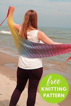 Easy Stripes! Danish Triangle Scarf Free Knitting Pattern using Kauni Effektgarn self-striping yarn