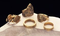 ~ Pair of royal finger rings. Date: A.D. 828-858 Place of origin: Laverstock Period/culture: Late Anglo-Saxon Medium: Gold, niello