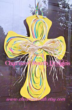 Yellow and Swirl Wood Cross Door Hanger Cross Door Hangers, Burlap Door Hangers, Crafts To Make, Diy Crafts, Wooden Crosses, Wall Crosses, Cross Crafts, Kids Wood, Cross Designs