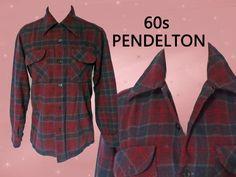Red Tartan Blazer, Mens Vintage Pendleton Plaid Wool Jacket, Mid Century 60s Classic Casual for Men Stranger Things Clothing, 42 CHEST