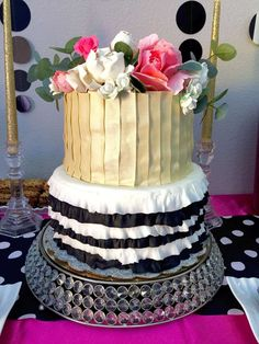 Gold, pink and black 25th birthday party cake! See more party ideas at CatchMyParty.com!