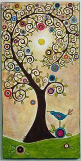 swirl tree and bird