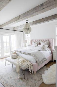 Rustic Bedroom/Pale Pink Bedding/Light Fixtures for the Bedroom/Bedroom Decor/Bedroom Inspiration Farmhouse Bedroom Decor, Home Decor Bedroom, Modern Bedroom, Feminine Bedroom, Bedroom Rugs, Bedroom Wall, Bedroom Ceiling, Bedroom Curtains, Master Bedroom Design