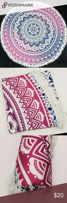 """🔖Clearance🔖Ombre Tribal Round Beach Towel NWOT  Ombre Purple - Pink Purple W/White Fringes Size: 60"""" Other"""