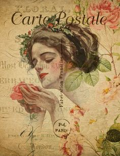 Vintage floral french postcard with face of glamorous woman illustration Vintage Greeting Cards, Vintage Postcards, Vintage Images, French Vintage, Vintage Woman, Vintage Floral, Woman Illustration, Poster Prints, Art Prints