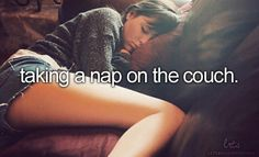 taking a nap on the couch