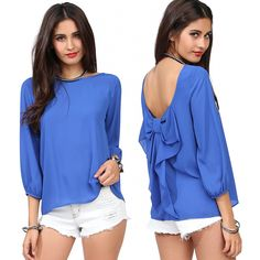 Sexy Blouses Backless Bowknot Blouse