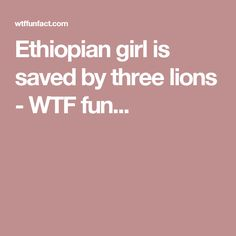 Ethiopian girl is saved by three lions - WTF fun...