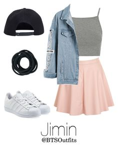 """Getting his attention at a Concert"" by btsoutfits ❤ liked on Polyvore featuring Topshop, Glamorous, adidas Originals and Boohoo"