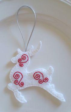 Felt Christmas Ornament – White Reindeer by FeltNostalgic on Etsy