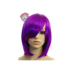 "14"" Long Bang Plum Purple Medium Wig ($24) ❤ liked on Polyvore featuring beauty products, haircare, hair styling tools, hair, wigs and short hair"