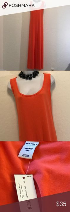 ⬇️Lower Price⬇️NWT Old Navy Long Orange Maxi Dress Stretch, Sleeveless, Great Color. Dresses Maxi