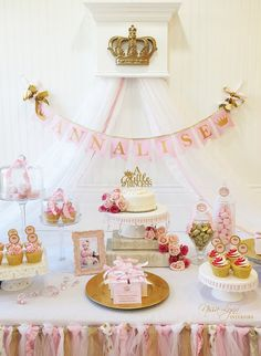 PINK and GOLD Baby Shower BANNER / Pink and Gold First Birthday / Princess baby shower / birthday girl / High chair banner / Baptism Princess Birthday Party Decorations, 1st Birthday Princess, Princess Theme Party, Gold First Birthday, Baby Girl 1st Birthday, Baby Shower Princess, Birthday Parties, 50th Birthday, Gold Baby Showers