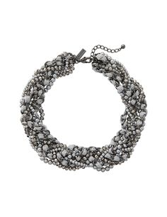 Braided Mixed Media Necklace - Mature colors with a touch of shine draw attention to your bold sense of style.