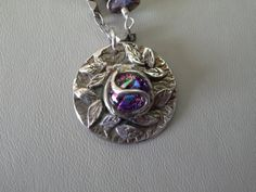 Fine Silver precious metal clay and Dichroic Glass Necklace