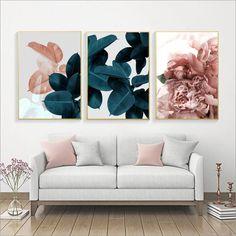 Pink Peony and Blue Botanicals – modernpostersupply