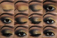 #maquiagem sombra dourada e azul