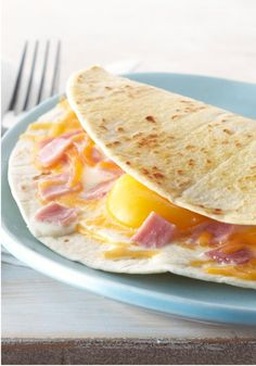 Good Morning Egg Quesadilla – Have a good morning—or afternoon or evening!—with this delicious egg quesadilla stuffed with shredded cheddar and smoked ham.