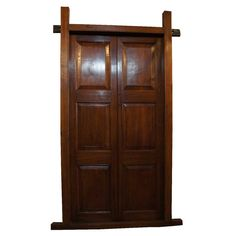 large english raj erateak double door with frame restored ready to install 1860