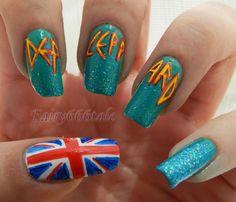 I would want my nails shorter, but I LOVE them! Fingernail Designs, Cool Nail Designs, Love Nails, My Nails, Band Nails, Music Nails, Teen Nails, Pretty Nail Art, Color Street Nails