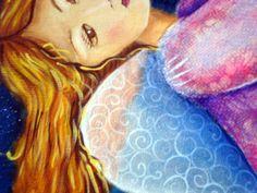 Close Menina Estrela, acrílico sobre tela com texturas