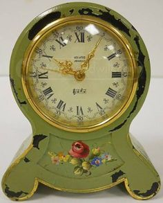Antique Music Box Hand-Painted German Alarm Clock - We use to have one almost just like it.