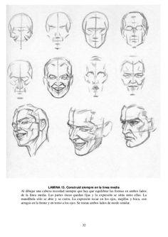 32 LAMINA 13. Construid siempre en la línea media Al dibujar una cabeza recordad siempre que hay que equilibrar las formas...