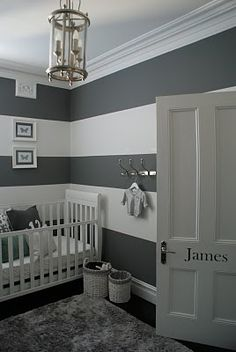 Grey nursery - I would have to add touches of another color but I love the grey striped walls! I would go as far as to do the bottom black stripe a chalkboard paint and e bottom white stripe dry erase paint so as they get older they can have fun :)