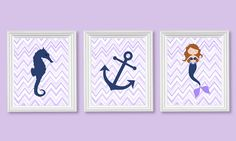 Purple and Navy Nursery Art Nautical Nursery Chevron Ocean Decor Mermaid Seahorse Anchor Lavender and Navy Girls Room Decor Baby Girl Canvas by SweetPeaNurseryArt on Etsy