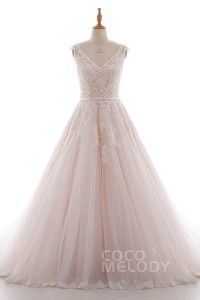 [ USD$ 389 ] Latest A-Line V-Neck Natural Chapel Train Lace and Tulle Ivory/Champagne Sleeveless Key Hole Wedding Dress with Appliques Beading and Sashes LD4395
