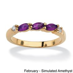 Palm Beach Jewelry PalmBeach Marquise-Cut Birthstone with Cubic Zirconia 18k Gold-Plated Ring Color Fun (Size
