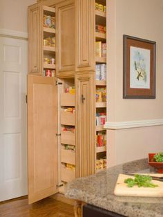 "huh...a ""pullout pantry."" I want a walk-in, but I can see myself making due with something like this if I had limited space and being pretty happy with it. Would need a bunch of pull-outs, just like they have here."