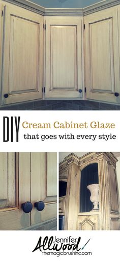 My most POPULAR painted cabinet finish … a gorgeous cream cabinet with a chocolate glaze. Get the themagicbrushinc.com's DIY video on how to change old oak kitchens into this stunning faux finish. From Shabby to French-country, this finish goes with every style and a variety of wall colors, countertops, tiles and décors