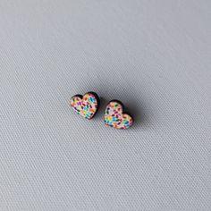 Retro Jewelry  Confetti Heart Cabochon Stud by DotsAndString