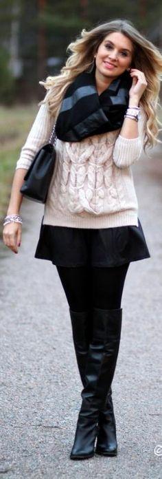 Chunky Knit with a flowy mini skirt