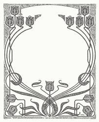 Art Nouveau Flower Frame by Doro - art nouveau style label with a flowers