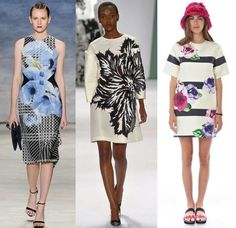 New York Fashion Week–Flowers might be a spring perennial, but they bloom in new and different ways each year. For Spring 15, designers are interpreting them in bold ways, from singular graphic prints to large repeating blooms to carved wood and sculptured leather accessories. Above from left: Bibhu Mohapatra, Carolina Herrera, Kate Spade. Below from left: Michael Kors, Josie Natori, Michael Kors.
