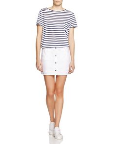 A fresh combination (and only-ours collaboration) pairs rag & bone's striped-just-right ex boyfriend tee with a crisp white santa cruz mini for a resort-ready look that's as effortless as it is exclusive. Pack these kick-back separates with sporty sneakers for the ultimate town-touring getup. #100PercentBloomies