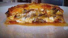 """Η Συνταγή είναι από κ. Tzela Antonopoulou – """"ΟΙ ΧΡΥΣΟΧΕΡΕΣ / ΗΔΕΣ"""". Υλικά 10 μελιτζανες φλασκες 1μεγαλο κρεμμυδι 3 σκελιδες σκορδο 1 πιπερια φλωρινης ψιλοκομμενη 1/2 ματσακι μαιντανο ψιλοκομμένο 1/2 κ.γ βασιλικό 1 κ.σ πελτέ 1 πουμαρο 1/4 φλ λάδι Αλάτι πιπέρι 250 γρ γραβιερα 250 γρ Lasagna, Baked Potato, French Toast, Recipies, Food And Drink, Lunch, Baking, Breakfast, Ethnic Recipes"""