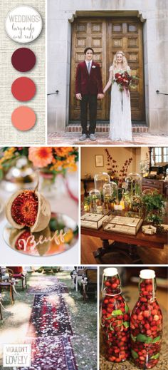 Burgundy red and coral wedding palette, red wedding colors, wedding color inspiration, fall and winter wedding colors. Wouldn't it be Lovely