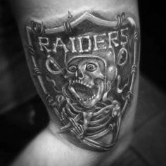Skeleton Oakland Raiders Tattoos For Men On Arm Oakland Raiders, Raiders Fans, Raider Nation, Raiders Tattoos, The Underdogs, Aztec Art, Men's Football, Arm Tattoos For Guys, Pattern Art