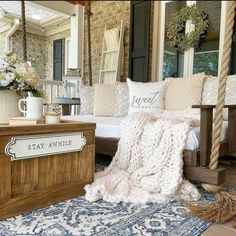 Women's Day Magazine, Farmhouse Rugs, Porch Swing, Front Porch, Southern Living, Porch Decorating, Building A House, Outdoor Living, Relax