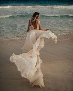 18 Absolutely Gorgeous Destination Wedding Dresses ❤ destination wedding dresses simple v back flowy beach chrisandruth #weddingforward #wedding #bride