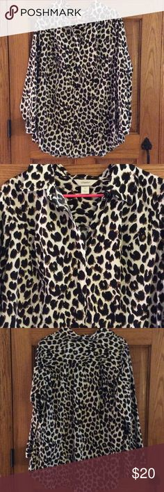 Blouse Animal print cotton blend button down. New worn. Christopher & Banks Tops Button Down Shirts