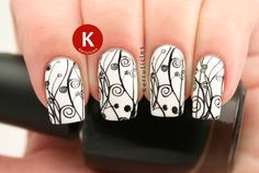 Black white floral stamping using Mo You XL Pro plate 14