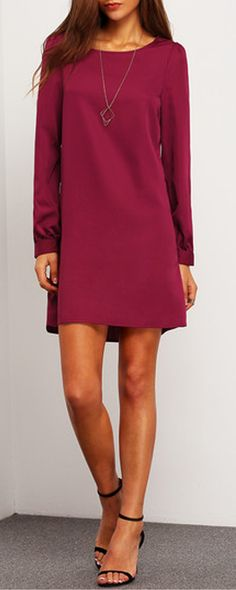 Perfect Situation Purple Long Sleeve Casual Dress at m.shein.com