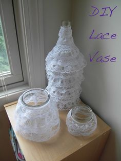 Simple Lace Centerpiece, DIY Vase
