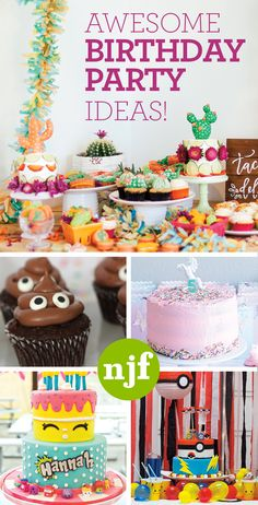 From Emoji to Unicorns, Shopkins to Pokemon, Caticorns to Cacti, check out these awesome birthday party ideas for the kids (or you)!