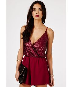 72e1056b6709 Missguided - Alix Sequin Top Strappy Playsuit In Burgundy Kaprielian vegas